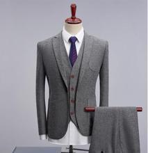 2019 Gray Herringbone Wool High End Slim Fit Mens Suit Formal Wedding Men Terno Masculino Tuxedo Suits (Jacket+Vest+Pants)