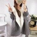 Loose woolen overcoat women's knitted sleeve medium-long patchwork woolen outerwear