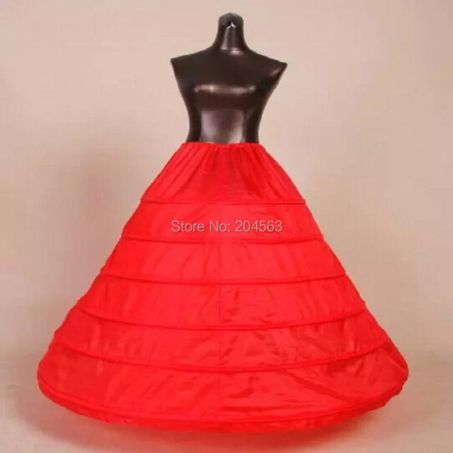 90d94c39f62ce Free Shipping 6-HOOP 1-LAYER PETTICOAT High Quality Red Petticoats for Wedding  Dress New Skirt