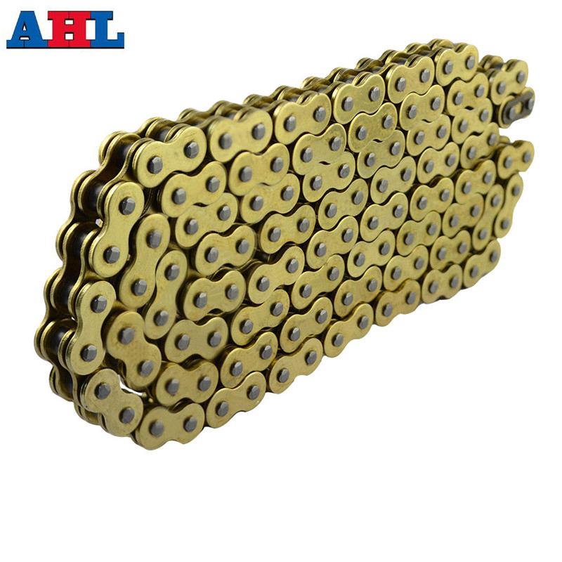 Motorcycle Parts 525 * 120 Drive Chain 525 Pitch Heavy Duty Gold O-Ring Chain 120 Links For Honda Yamaha Suzuki Kawasaki 530 120 brand new unibear motorcycle drive chain 530 gold o ring chain 120 links for cagiva ala azzurra 650 drive belts