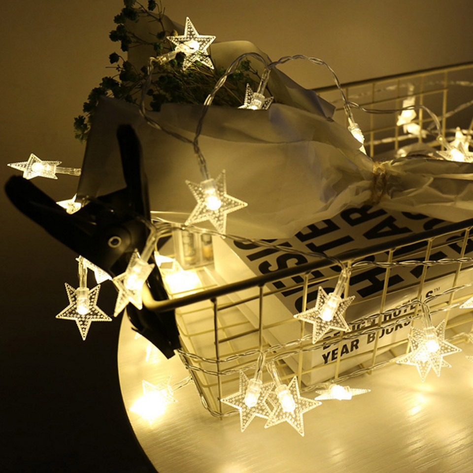 String Lights With Battery: 3m Star Fairy Lights Battery Operated LED Christmas Lights