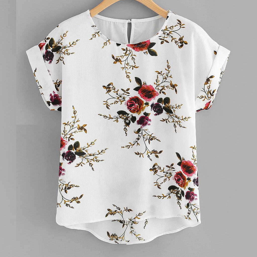 Clothing Shirt Pullover Blouse Tee-Tops Short-Sleeve O-Neck Floral-Print Female Fashion