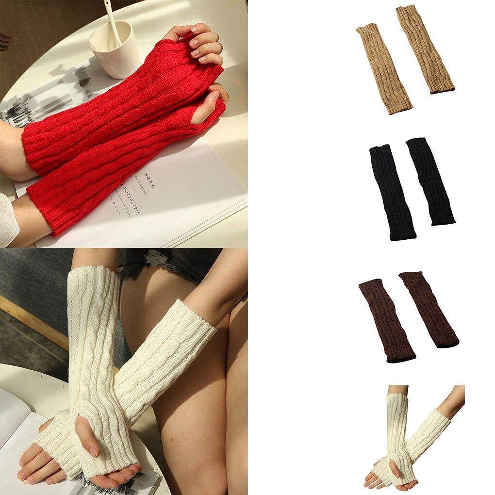1 Pair Winter Autumn Knit Arm Warmer Women Girls Long Winter Mittens Wrist Warmer Female Gloves