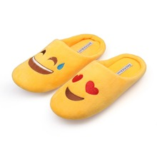 RASS PLE Women Soft Velvet Indoor Floor Expression Slippers Cute Emoji House Shoes Soft Bottom Winter Warm Shoes For Bedroom