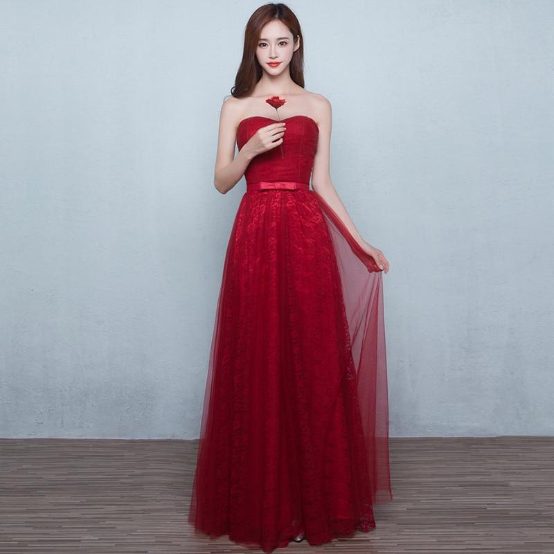 wedding party dress2019 new lace Off the Shoulder backless ALine burgundy   bridesmaid     dresses   long vestido boda mujer invitada