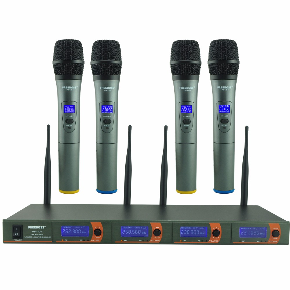 FREEBOSS FB-V04 Professional Microphones VHF KTV Party Mic System 4 Handheld Wireless Karaoke Microphone freeboss m 2280 50m distance 2 channel headset mic system karaoke party church uhf wireless microphones