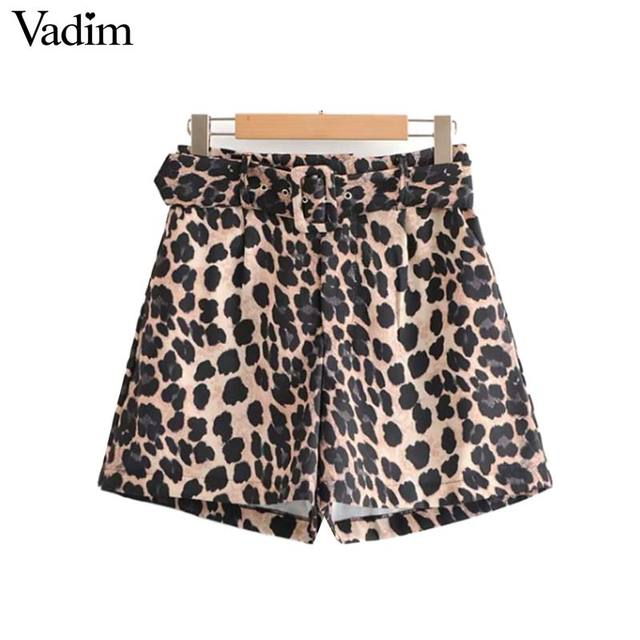 Vadim women leopard animal print shorts bow tie belt pockets zipper fly pleated wild style casual sexy pantalones cortos SA064