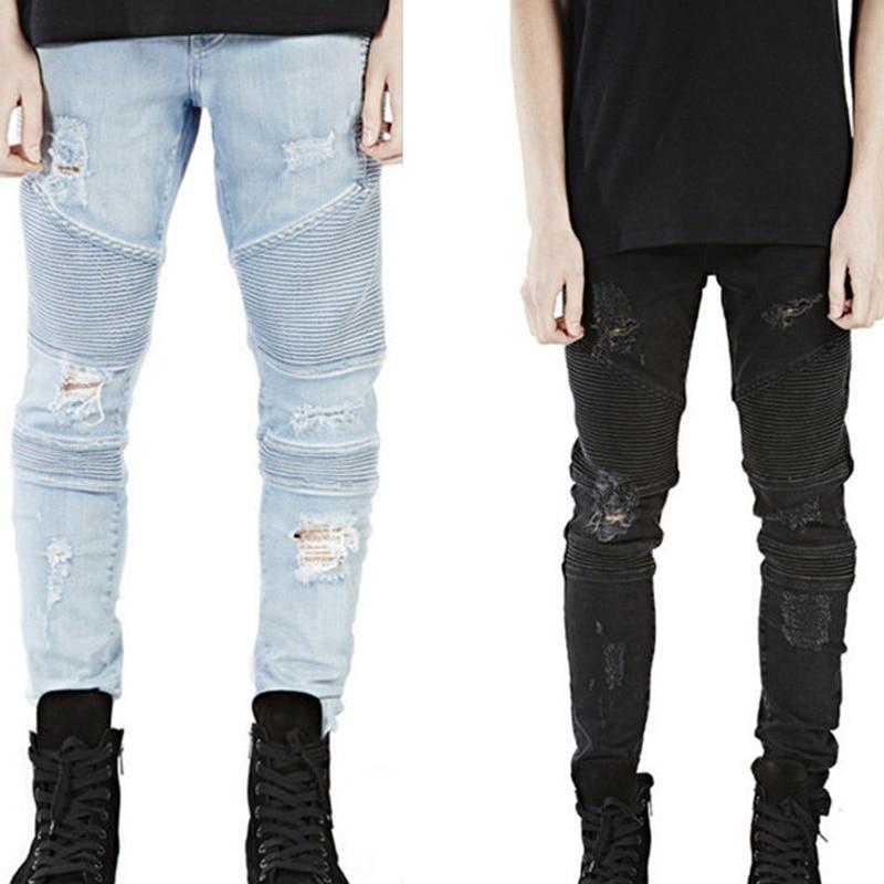 buy new hi street jeans men 2016 mens motorcycle biker fashion skinny ripped. Black Bedroom Furniture Sets. Home Design Ideas