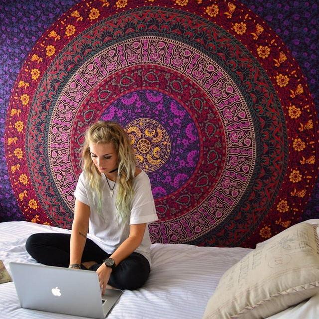 India mandala Tapices hippie pared colgante Impresión digital playa Esterillas protector solar chal cuadrado