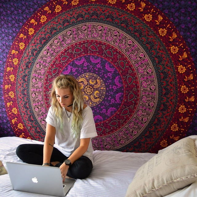 Indian Mandala Tapestry Hippie Wall Hanging Digital Printing Beach Mat Sunscreen Square Shawl