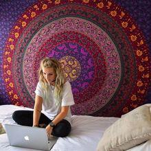 Indian Mandala Tapestry Hippie แขวนผนังพิมพ์ดิจิตอลชายหาดครีมกันแดดผ้าคลุมไหล่สแควร์