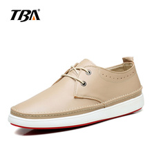 TBA British Style Spring/Autumn All-Match Comfortable Shoes Fashion Breathable Outdoor Casual Shoes Genuine Leather Men's Flats