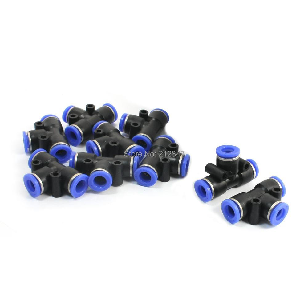 10 Pcs 8mm to 8mm Quick Connect 3 Ways T Shaped Tee Union Black Blue Plastic Pneumatic Push In Fittings Quick Joints Tubing Conn free shipping 30pcs peg 10mm 8mm pneumatic unequal union tee quick fitting connector reducing coupler peg10 8
