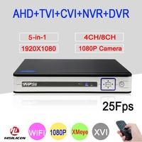 Silver Panel XMeye 5 In 1 4CH 8CH 1080P 2MP Full HD 25Fps Hybrid Coaxial WIFI