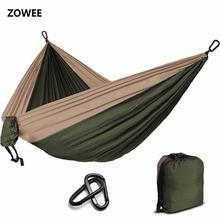 Camping Parachute hamak Survival ogród Outdoor meble Leisure Sleeping Hamaca Travel hamak podwójny 300 * 200cm tanie tanio Meble ogrodowe Osoby dorosłe Pełny kolor hamak kempingowy ZW-SH02 Dwie osoby Z ZOWEE Hamak 2 osobowy 2 osoby kempingowe Parachute hamak