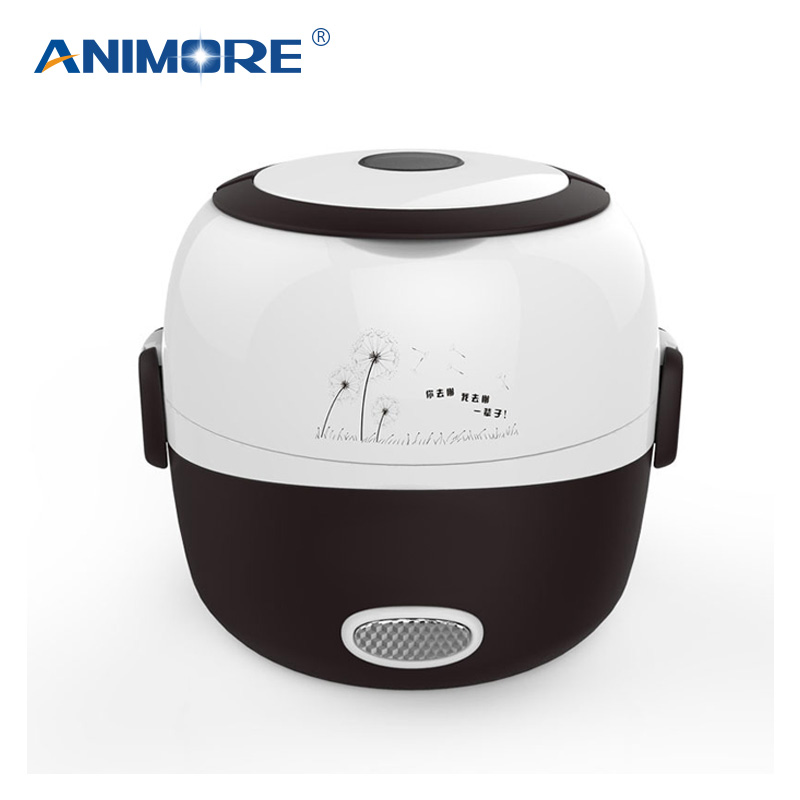 ANIMORE Portable Electric Rice Cooker 1.3L Insulation Heating Electric Lunchbox 2 Layers Steamer Food Container Pressure Cooker electric pressure cookers electric pressure cooker double gall 5l electric pressure cooker rice cooker 5 people
