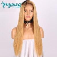 13x6 Синтетические волосы на кружеве Человеческие волосы Искусственные парики предварительно сорвал 150% Плотность Прямо бразильский девстве