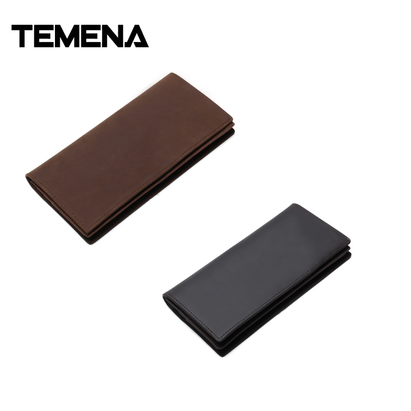 Temena New Vintage Genuine Leather men Wallet High Large Capacity long card purse Crazy Horse Genuine Leather Man Wallet AWL044 man standard wallets crazy horse leather 2018 new fashion men brand vintage genuine leather wallet card