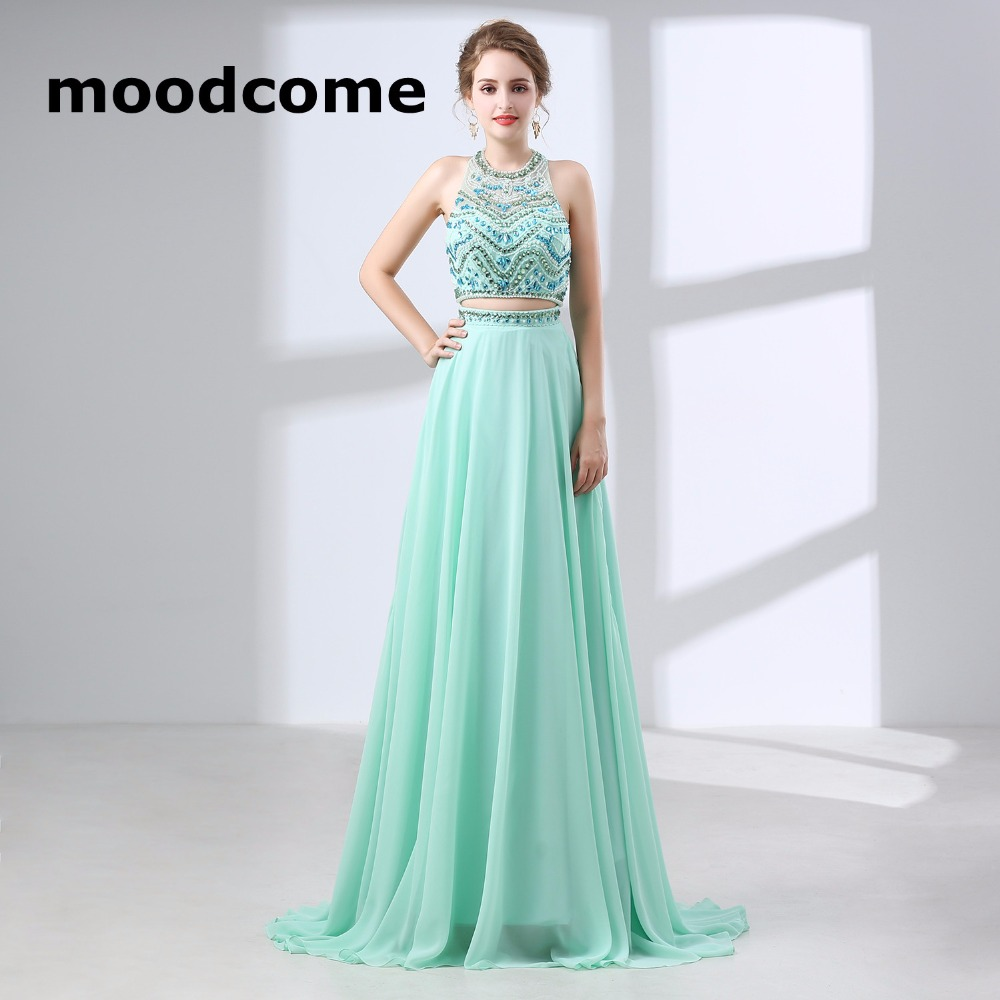 2018 Crop Top Prom Dresses Two Piece Chiffon Halter Beading Crystal ...