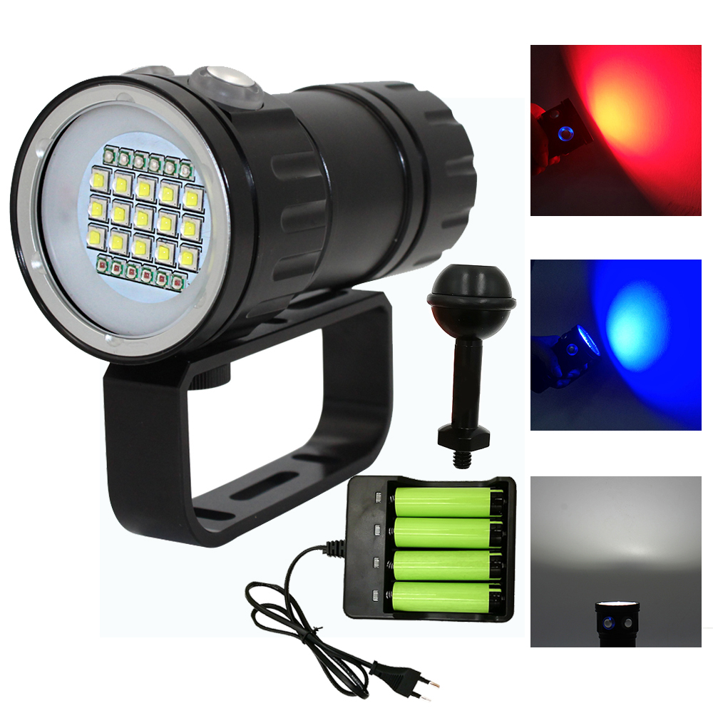 Underwater LED Photography Video Diving Flashlight 15x XM-L2 White+6x XPE Red+6x XPE Blue Waterproof Tactical Torch Lamp