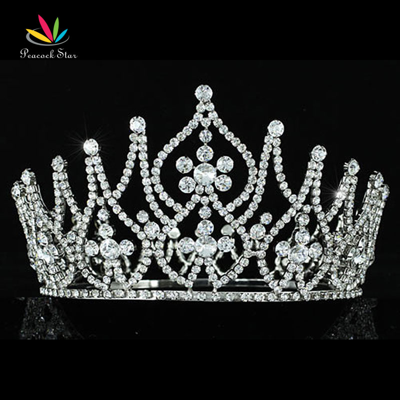Peacock Star Bridal Wedding Party High Quality Pageant Beauty Contest Crystal Full Circle Round 4.25 Tiara Crown CT1581 peacock star bridal wedding party quality sparkling pageant beauty contest black crystal tall tiara ct1389