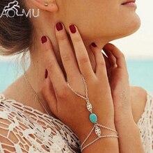 AOMU Natural Stone Celebrity Multi Chain Tassel Bracelet Slave Finger Chain Hand Harness Silver Color Bangle Bohemian Jewelry