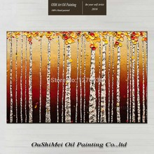 Hand Painted Oil Painting of Under The Setting Sun on Canvas Match Well Wall Artwork Handmade Knife Palette Tree Plant Pictures