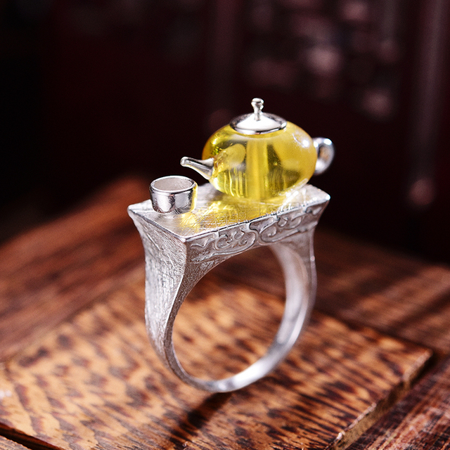 925 Sterling Silver Natural Amber Teapot Ring 1