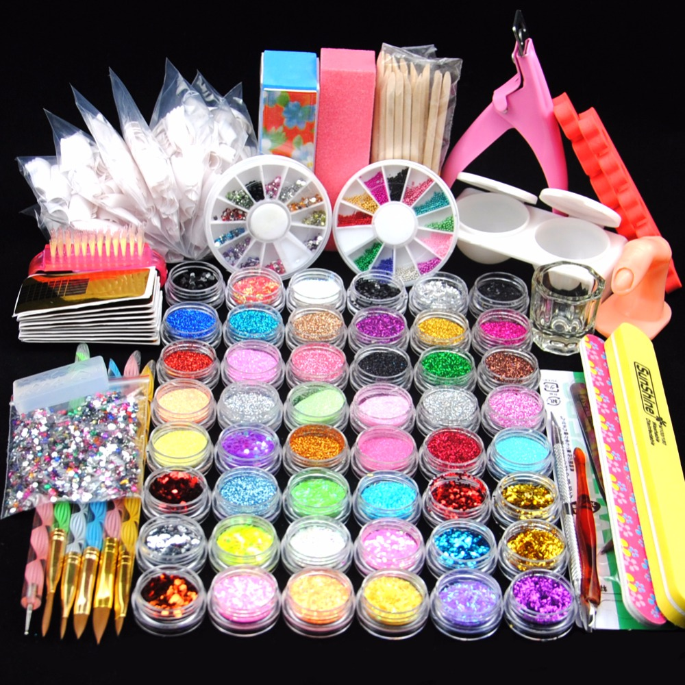 48 Glitter Powder Manicure Nail Kit Rhinestones 3D Design Acrylic Powder Gel Polish Nail Tips Gems Decoration DIY Nail Tools Kit diy 3d glitter nail art rhinestones crystal wheel design mix colors acrylic uv gel nail tips gems decoration manicure tools