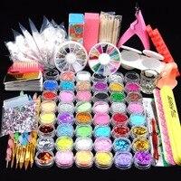 48 Polvere Glitter Manicure Kit per Unghie Strass 3D Design Acrilico polvere Gel Polish Nail Tips Gemme Della Decorazione DIY Strumenti Nail Kit