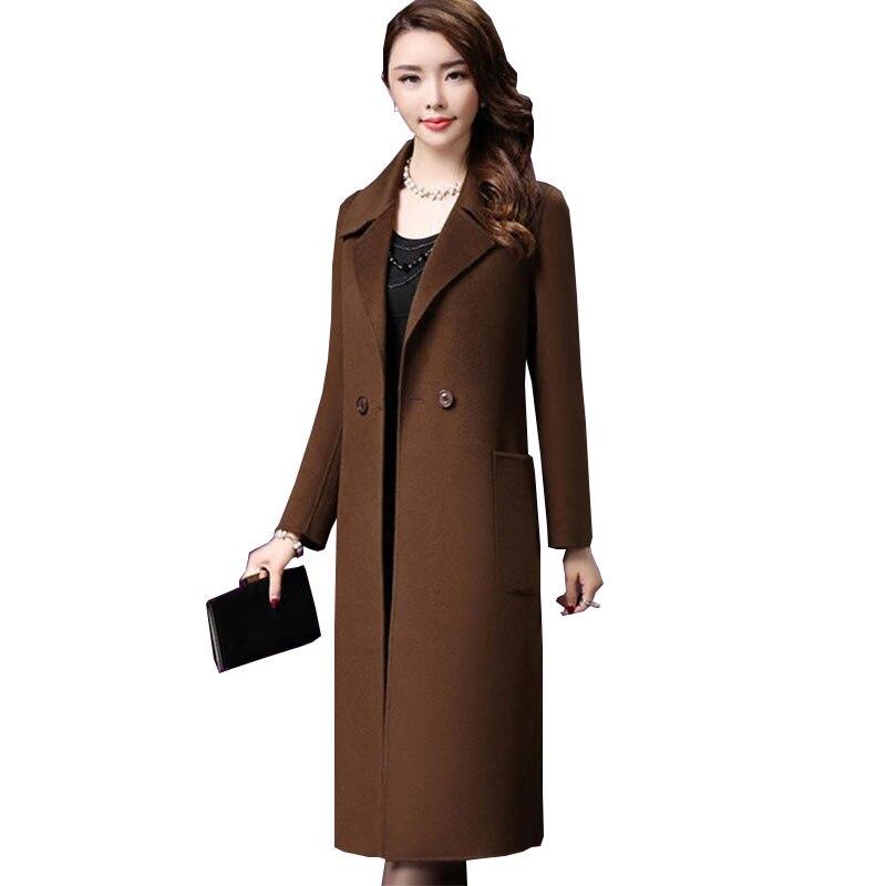 Double face cachemire grande taille automne hiver femmes laine Manteau 2018 moyen âge Top qualité femmes manteaux Manteau Long Femme Z551