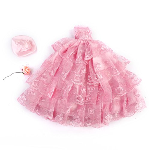 Excessive High quality Handmade Marriage ceremony Robe Four-layer Lace Floral Costume Pink for Barbie Doll