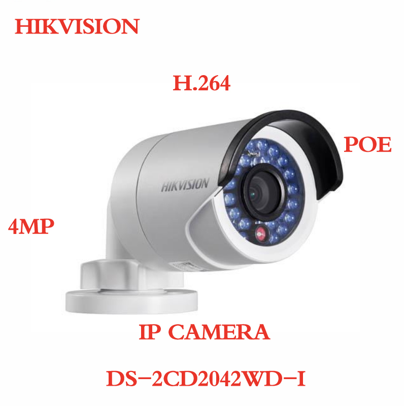 ANXIE Hikvision Camera DS-2CD2042WD-I 4MP Bullet Security IP Camera with POE Network camera Security Cameras Surveillance H.264 free shipping hikvision english version ds 2cd2t42wd i5 4mp bullet ip camera exir security camera poe 50m ir h 264