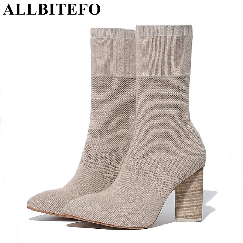 ALLBITEFO sexy fashion Knitted fabric pointed toe thick heel women boots high heels high quality spring boots woman ankle boots