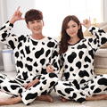 2017 Autumn and winter men and women couple coral velvet thickening pajamas suit cute cartoon cow flannel homewear