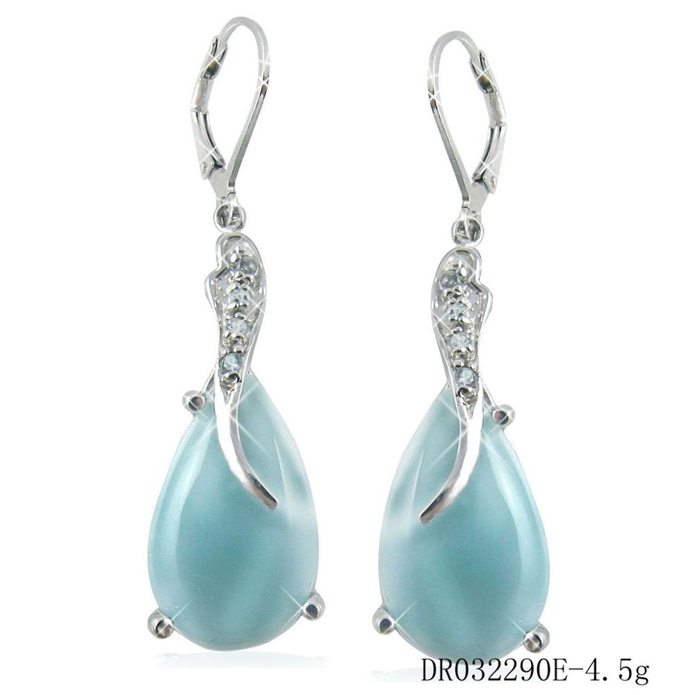 Hot Sale High Quality Sterling S925 Natural Larimar Women/'s Drop Earrings Gift