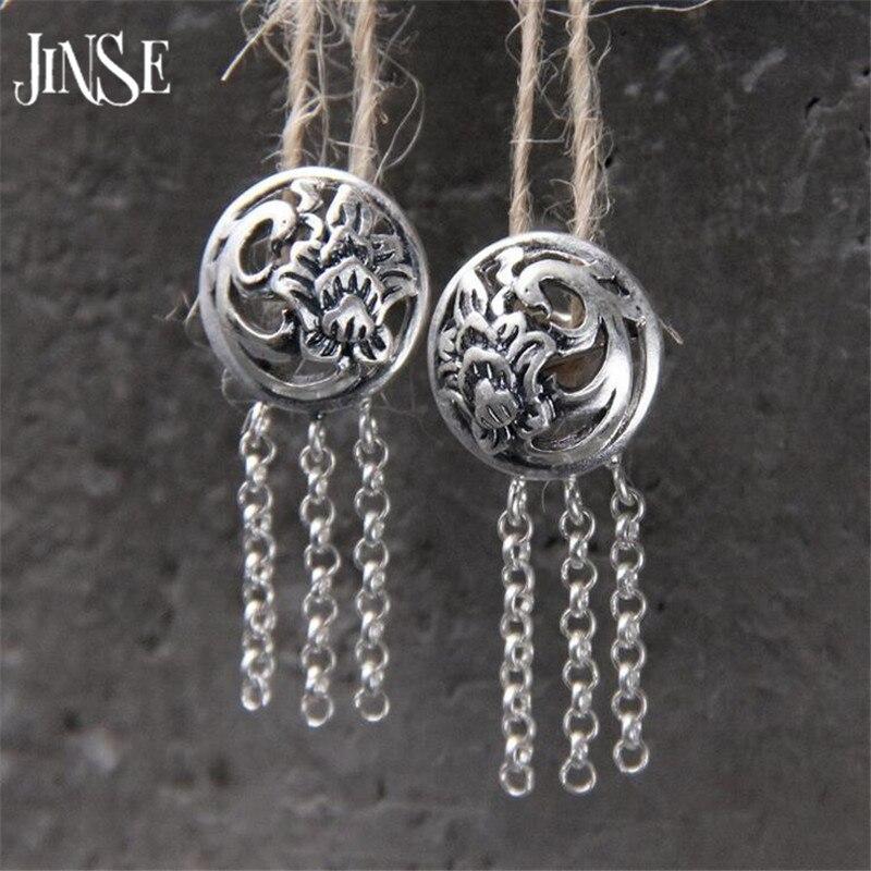 JINSE S925 стерлингов Серебряные серьги для Для женщин Ювелирные украшения в стиле ретро панк коктейльное Феникс длинной кисточкой падение мотаться 12.50 мм