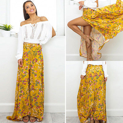 Women Summer Boho Long Maxi Skirts Yellow Floral Split Low Cut Evening  Party Beach skirts Women Clothes af8e1c0475a5
