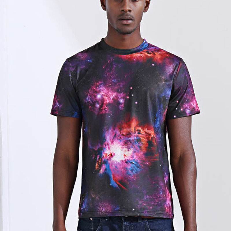 2018 Summer Hip Hop 3D starry sky whirlpool print Fashion Clothes male 3D t shirt O-neck Tops Tees high quality