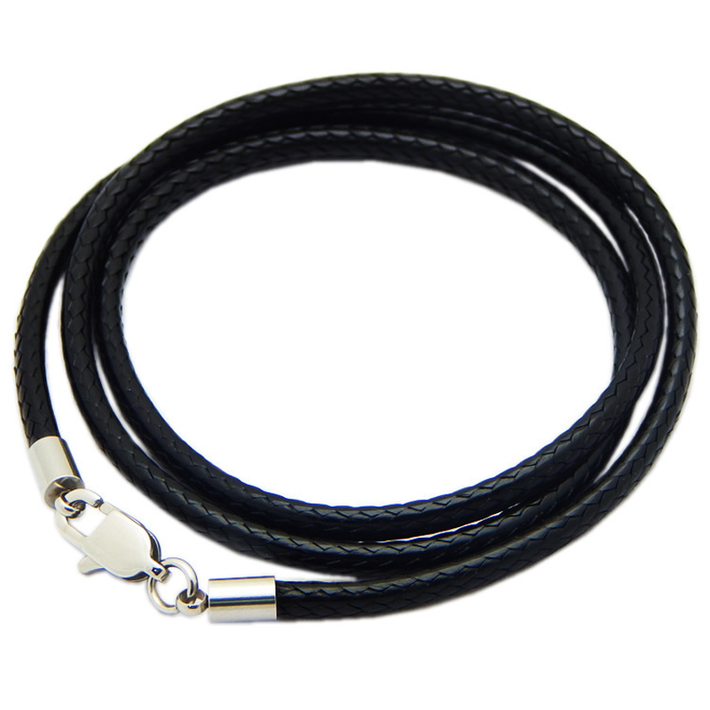 1.5mm 2mm 3mm Leather Cord Black Necklace Chain Stainless Steel Lobster Clasp Connector Round Waxed Rope For Men Women 55cm 80cm