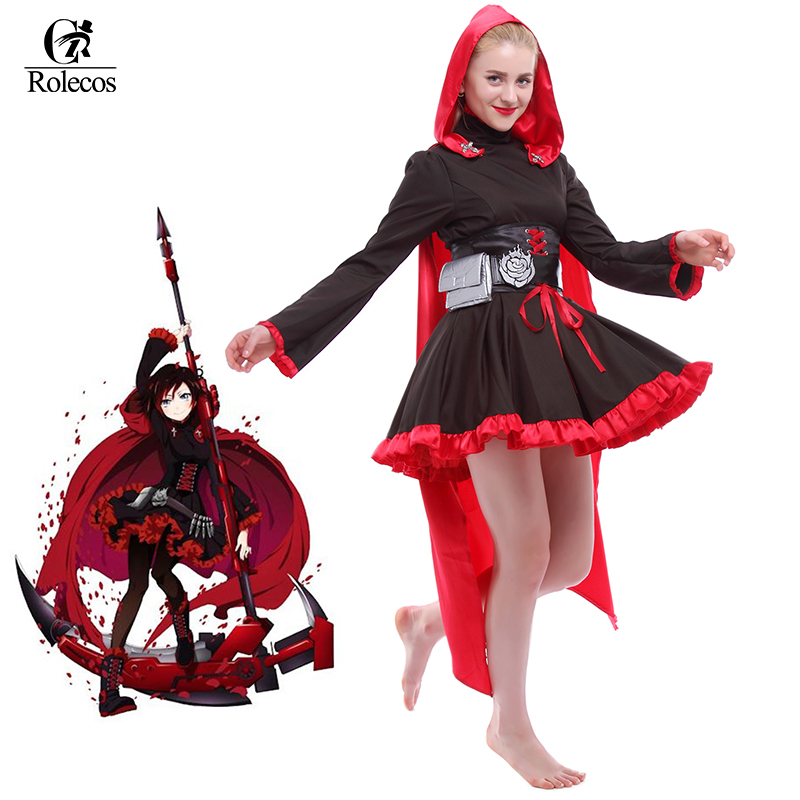 Rolecos Anime RWBY Cosplay Red Trailer Ruby Rose Cosplay Costume cosplay red
