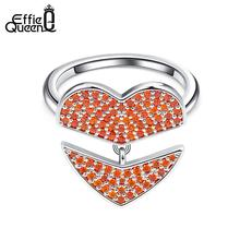 Effie Queen Romantic Heart Rings For Women Red AAA Cubic Zircon Dangle Ring Anniversary Jewelry Party Gift Anillos Mujer DR198