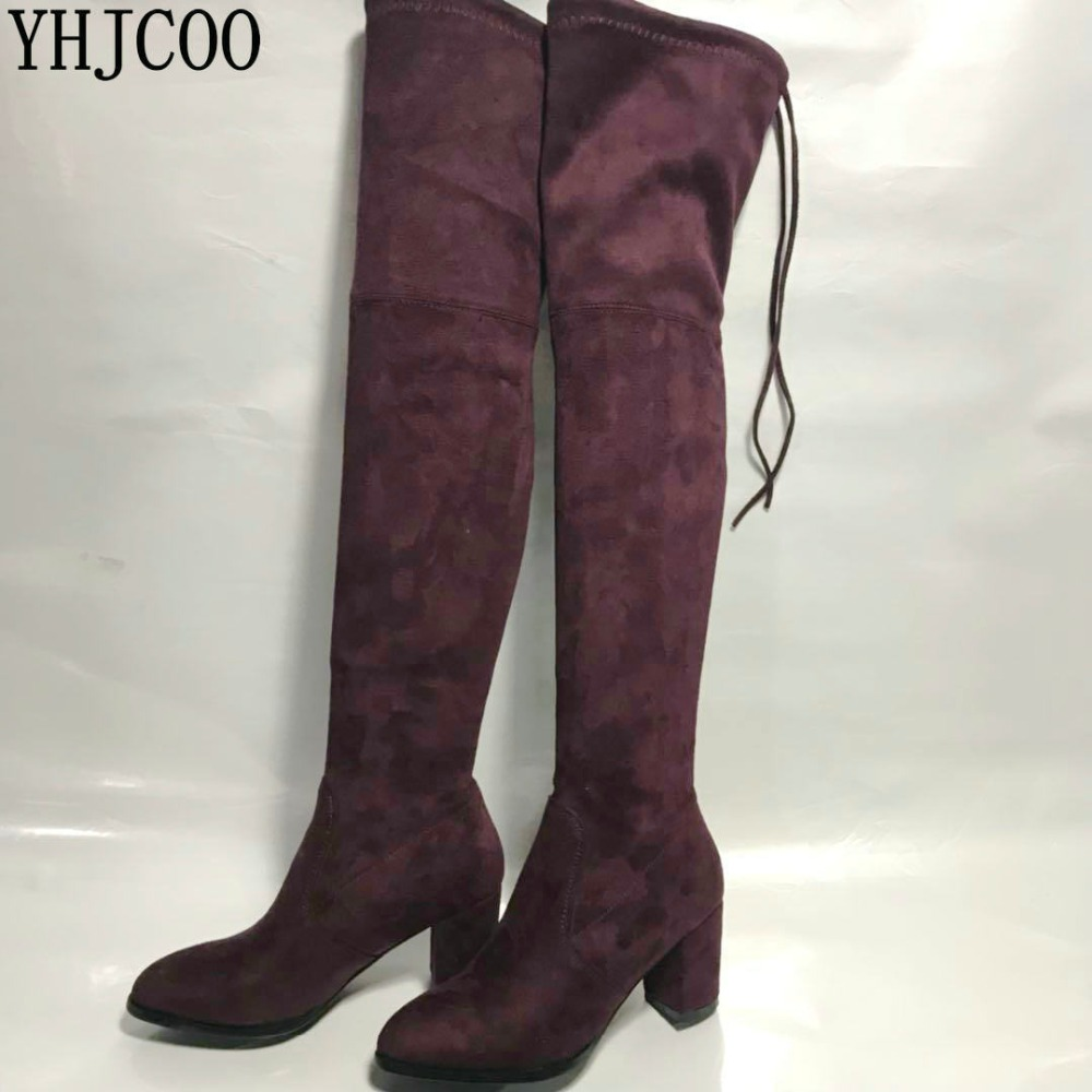 2017 Fashion Over-the-Knee Boots Womens Shoes Suede Square heel Womens Boots Over-the-Knee Womens Stretch Boots Size 34-43