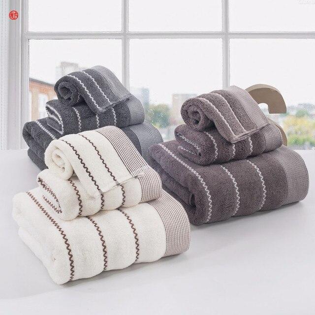 Wave Towel Set 100 Cotton Face Bath Towels Beige Gray 3pcs Lot Bathroom Beach