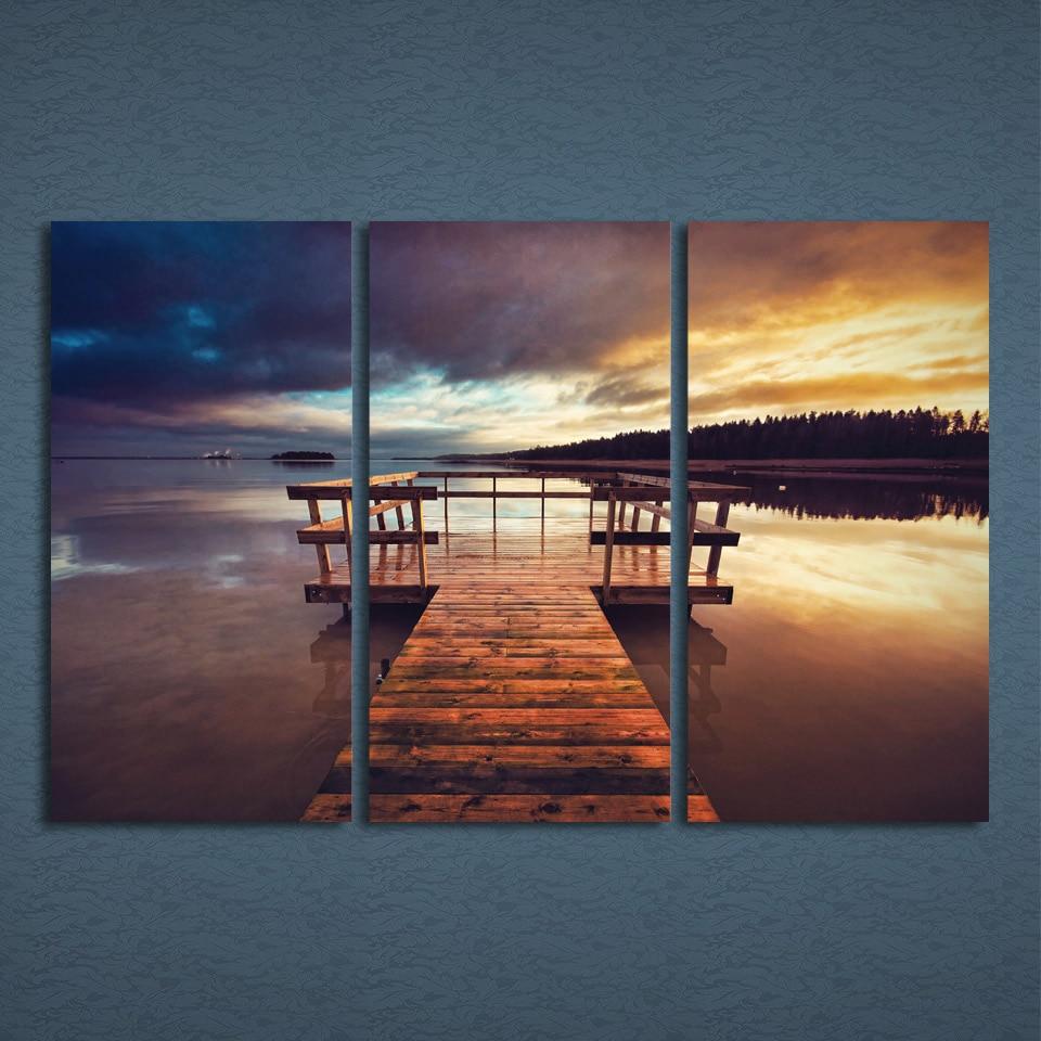 Современный декор холст изображения HD печатает Рамки Гостиная стены Книги по искусству плакат 3 предмета тихий вечер Coast Pier закат мост живоп...