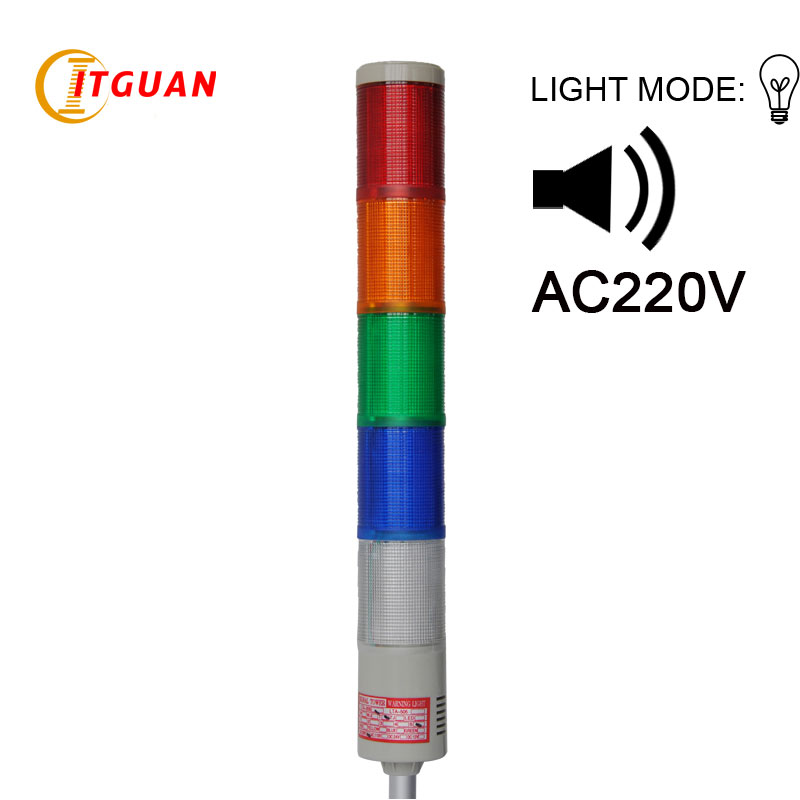 LTA-205J-5 AC220V 5 Layer Bulb warning tower light red/yellow/green/blue/white Right-Angle Bottom with sound 90dB