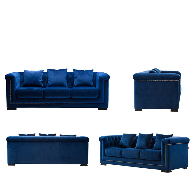 Blue Color Classical Sofa Modern Minimalist Fabric Soft Sofa House  Furniture Sales Sofa
