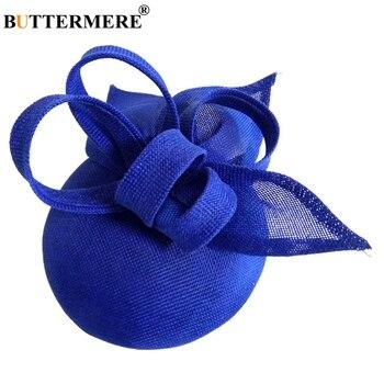 BUTTERMERE Women Fedora Ladies Hats Linen Bride Hat Veil Female Elegant Wedding Party Vintage Pillbox Church Woman