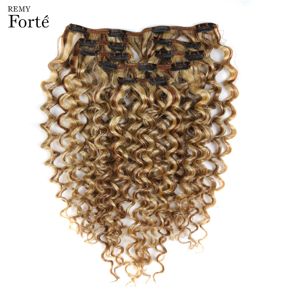 Remy Forte Clip In Human Hair Extensions Kinky Curly Hair Clip Ins 7 PCS P6/613 Blonde Bundles Hair Extension 24 Inch Hair Clip