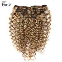 Remy Forte-extensiones de cabello humano, Clip de pelo rizado, en 7 Uds., mechones Rubio P6/613, extensión de cabello de 24 pulgadas